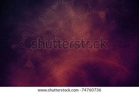 Abstract horizontal background with chemical elements; digital illustration - stock photo
