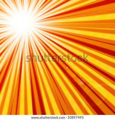 Abstract hot summer sun with rays