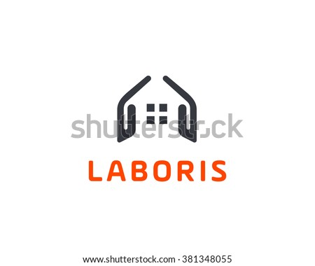 Abstract house hands logo design template. Premium real estate sign. Universal protection care home realty business icon. Negative space idea logotype - stock photo