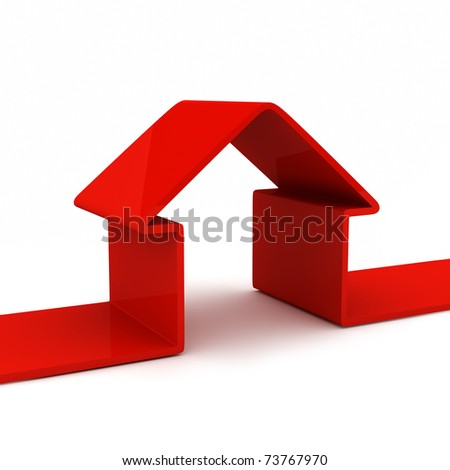 abstract house isolated on white - stock photo