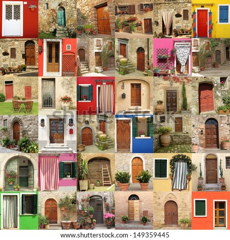 abstract house made of many doors, images from Italy, Europe - stock photo