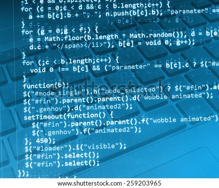 Abstract html code design, program and computer. Programming code screen of software web developer. Technology start-up concept - stock photo
