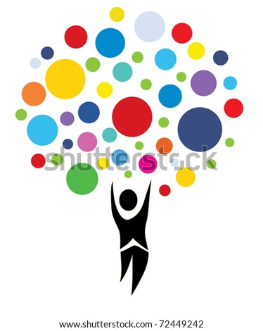 abstract human multicolor tree, symbol of nature - stock photo