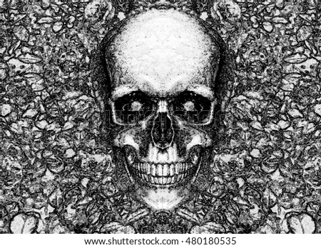 abstract human skull on flower background, black and white/skull with diamond eyes/ symmetrical skull/ the unusual shape of a human skull