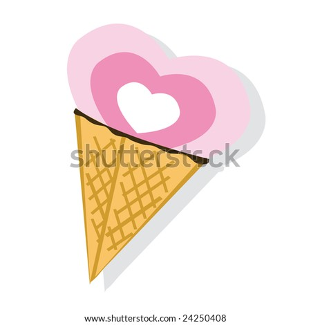 Abstract ice-cream on white background. Rasterized illustration. - stock photo
