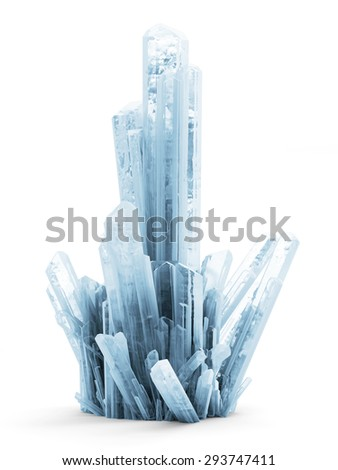 Abstract Ice Crystals isolated on white background - stock photo