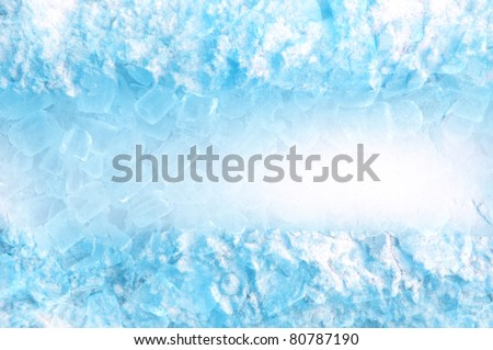 abstract ice cube and snow  in blue light background - stock photo