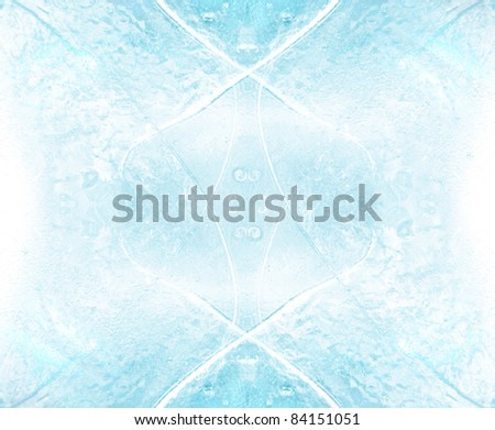 abstract ice cube in blue light background - stock photo