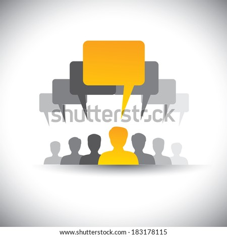 abstract icons of company staff or employee meeting  - graphic. This illustration also represents social media communication, board meetings, student union, people's voice, leader & leadership, etc - stock photo