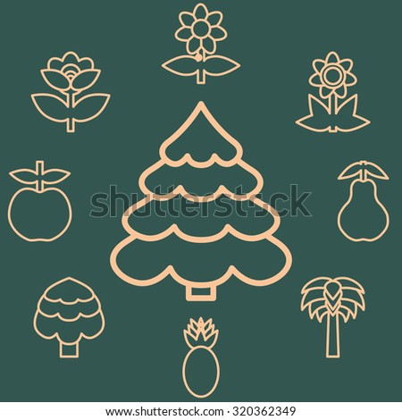 Abstract icons outline of the subjects trees flower and fruit. Symbol of nature and naturalness. Logo design elements for organic businesses.  Rasterized version. - stock photo