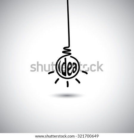 abstract idea bulb hanging & glowing - concept graphic icon. This graphic also represents creative problem solving, genius mind, smart thinking, inventive mind, innovative man, abstract thought - stock photo