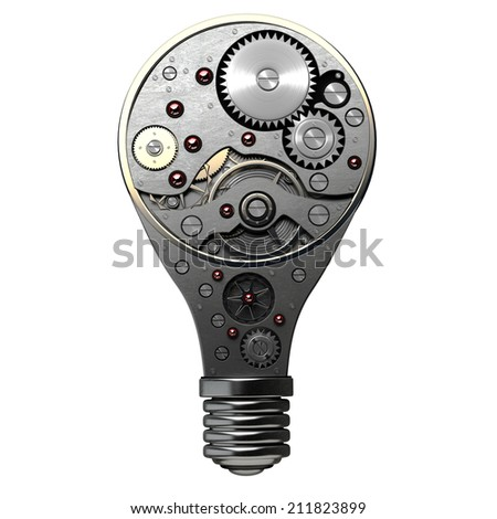 abstract idea. Light bulb with gears inside isolated on white background. 3d High resolution - stock photo