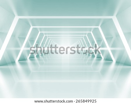 Abstract illuminated empty light blue shining corridor interior, 3d render illustration - stock photo