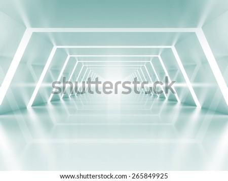 Abstract illuminated empty light blue shining corridor interior, 3d render illustration - stock photo
