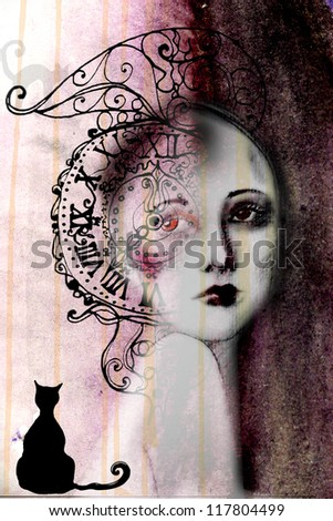 abstract illustrated beautiful woman - watercolor illustration - stock photo