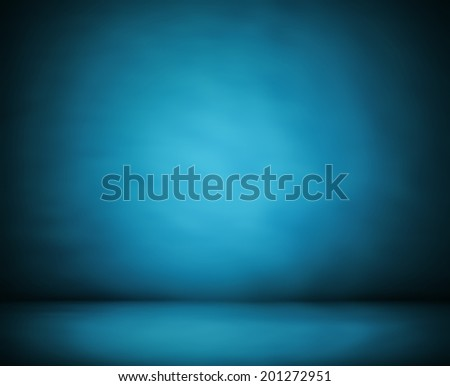 Abstract illustration background texture of beauty dark and light blue, cyan, azure, turquoise, black gradient wall and flat floor in empty spacious room interior