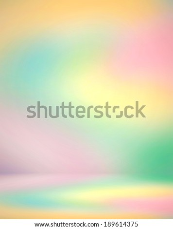 Abstract illustration background texture of color gradient wall, flat floor, light ceiling and sides from metal in empty spacious fairy room interior with vivid soap stains like bright paint diffusion - stock photo
