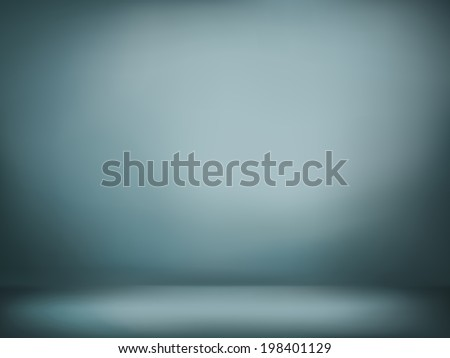 abstract illustration background texture of dark gray and blue gradient wall, flat floor in empty room. - stock photo