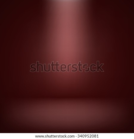 abstract illustration background texture of red wall, flat floor in empty room - stock photo