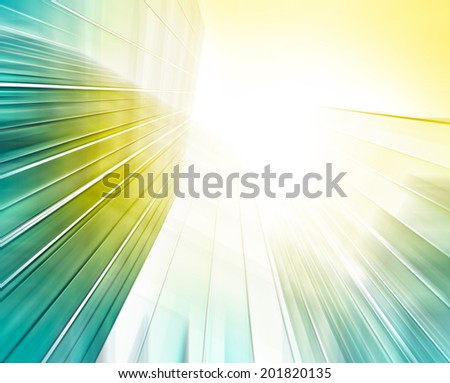 Abstract illustration background texture wide angle view to steel light blue glass high rise building skyscraper commercial modern city of future Business concept of successful industrial architecture - stock photo