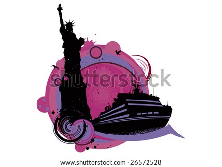 abstract illustration boat - stock photo