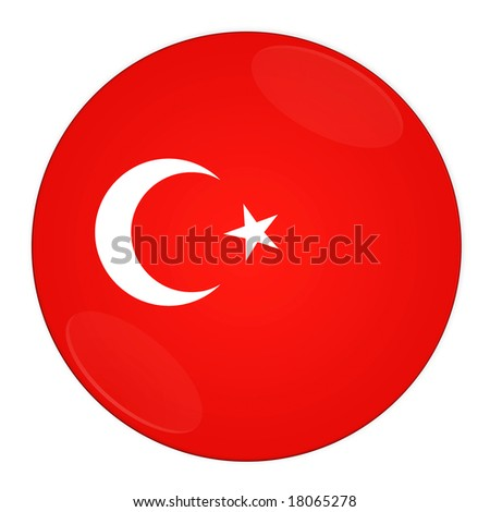 Abstract illustration: button with flag from Turkey country - stock photo
