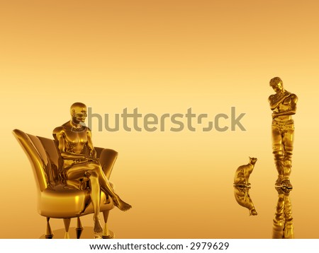 Abstract illustration depicting loneliness, being alone. Two man together apart with domestic cat, companion.  Depression concept. - stock photo