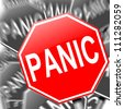 Abstract illustration depicting many roadsigns with a panic concept. - stock photo