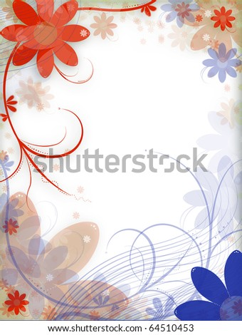 Abstract illustration: flowers on the background