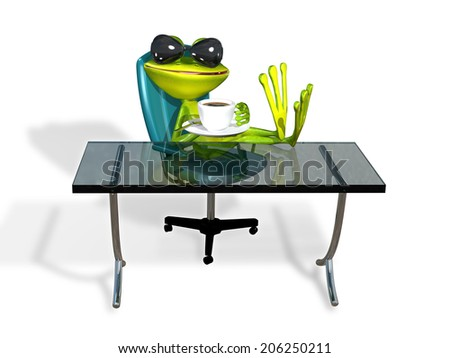 abstract illustration frog at a table with coffee - stock photo