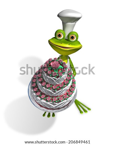 abstract illustration frog chef with a cake - stock photo