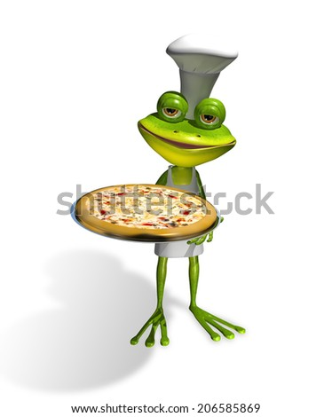 abstract illustration frog chef with a pizza - stock photo