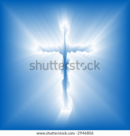 Abstract illustration of a cross emerging - in glorious rays - from a pure blue sky.