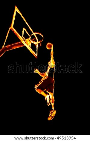 Abstract illustration of a fiery burning basketball player going up for a slam dunk. - stock photo