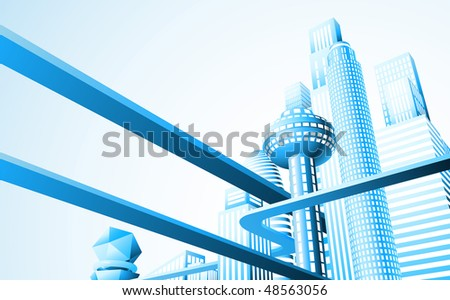 Abstract illustration of a futuristic cityscape or skyline - stock photo