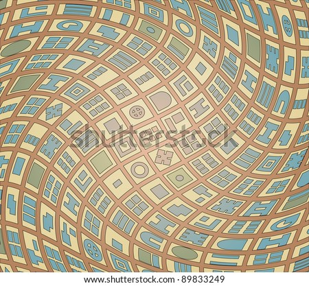 Abstract illustration of a generic map of a twisted street plan - stock photo