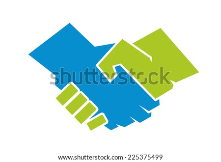 Abstract illustration of a handshake between one green hand and one blue hand, symbol of agreement or environmental protection, isolated on white background - stock photo