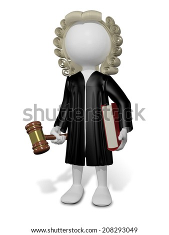 abstract illustration of a judge in a wig with a book - stock photo