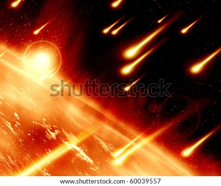 abstract illustration of a meteor shower on a planet - stock photo