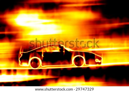 Abstract illustration of a sports car speeding through a burning fire.
