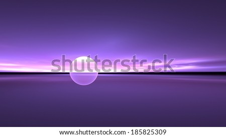 Abstract illustration of a surreal purple sun setting over tranquil waters - stock photo