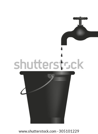 abstract illustration of a tap with bucket