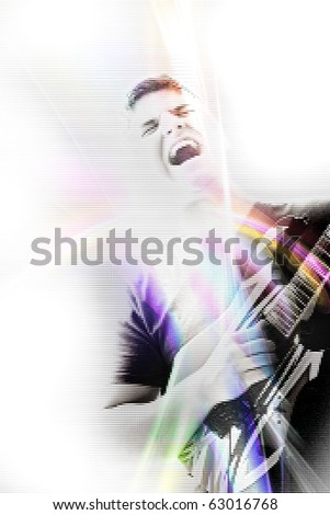 Abstract illustration of a young man rocking out with his electric guitar. - stock photo