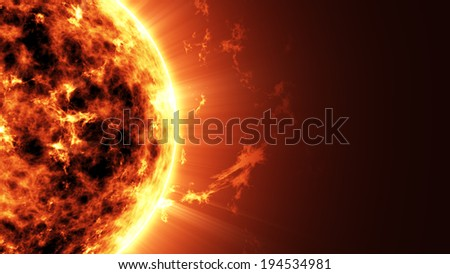Abstract Illustration of an a Big Sun Star in Space with place for Your text - stock photo
