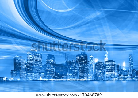 Abstract Illustration of an urban highway going to the modern city downtown, speed motion with colorful lights. New York image is from my collection. - stock photo