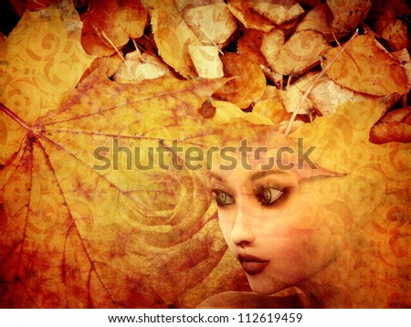 Abstract illustration of autumn leaves background and girl's face. - stock photo