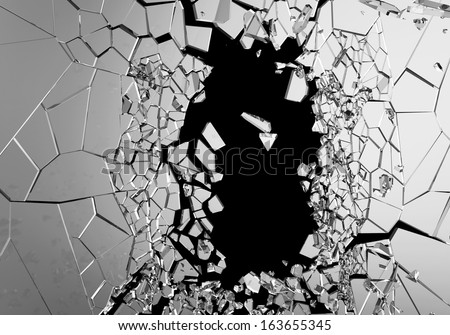 Abstract Illustration of Broken Glass isolated on black background. (Animation for this image see in my footage gallery) - stock photo