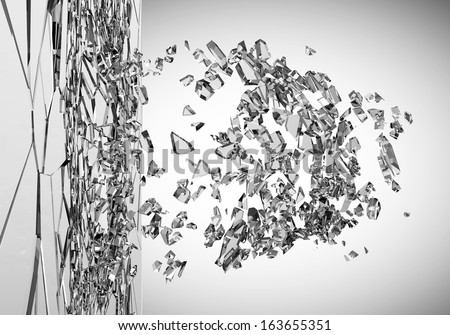 Abstract Illustration of Broken Glass on gradient background. (Animation for this image see in my footage gallery) - stock photo