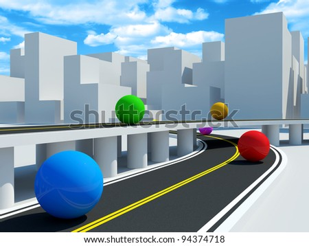 Abstract Illustration of Colorful Balls in Modern Business City - stock photo