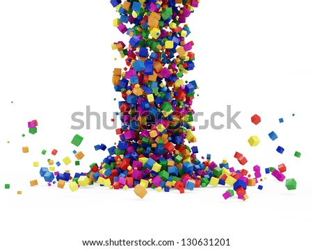 Abstract Illustration of Colorful Cubes Falling on white background - stock photo